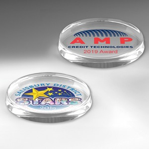 Glass Oval Paperweight Award (Screen Printed)