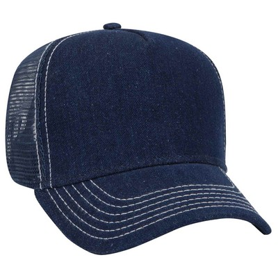 OTTO Denim 5 Panel Pro Style Mesh Back Trucker Hat