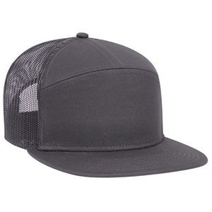 OTTO Superior Cotton Twill Round Flat Visor 7 Panel Pro Style Mesh Back Trucker Snapback Hat