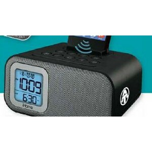 Bluetooth Dual Alarm Clock with USB Charging/ Line-In & Device Stand