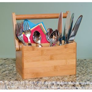 Bamboo Flatware Caddy w/ Folding Handle